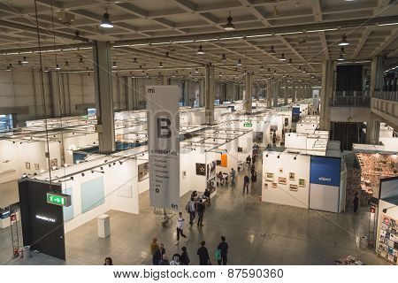 Top View Of People And Booths At Miart 2015 In Milan, Italy