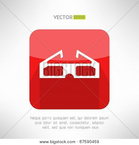 Cinema 3d glasses icon in modern clean and simple flat design. Modern movie theater equipment. Vecto