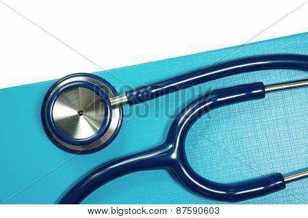 Medical Stethoscope On Blue Folder