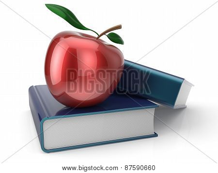 Books And Red Apple Back To School Learning