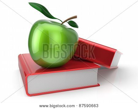 Books And Green Apple Education Erudition Symbol