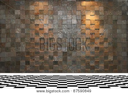 Stone wall with two spotlights and black and white checkered floor tiles