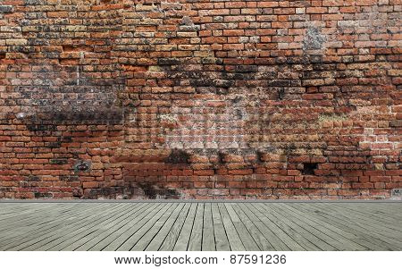 Old red brick wall and wooden floor