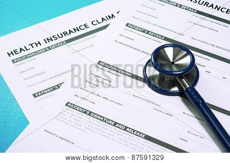 Health Insurance Claim Form With Stethoscope