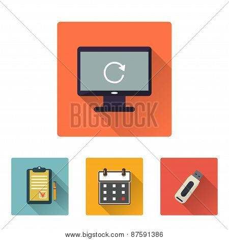 Office Flat Icons Set With Long Shadow