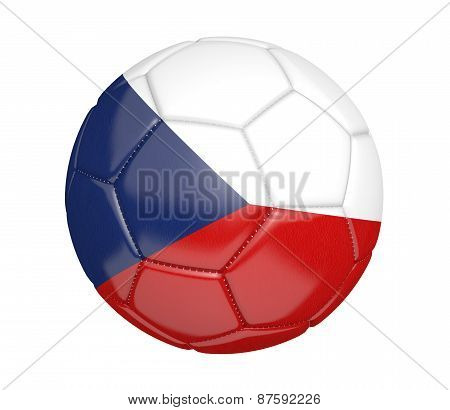 Soccer ball, or football, with the country flag of Czech Republic