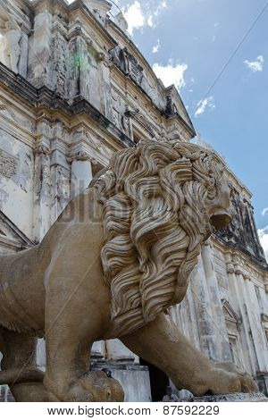 Statue Lion Cathedral Of Leon Nicaragua Central America