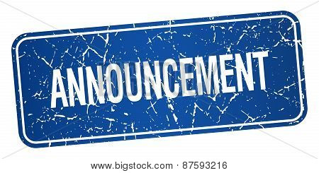 Announcement Blue Square Grunge Textured Isolated Stamp
