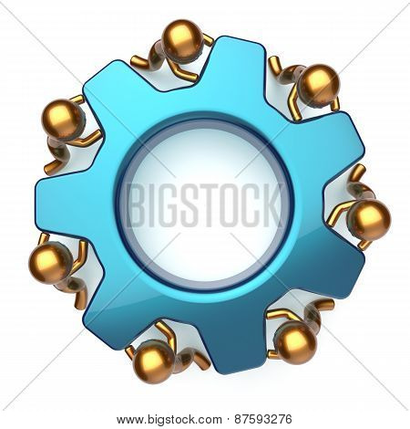 Teamwork Business Workforce Process Mans Turning Gear Together
