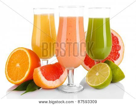 Fresh summer cocktails with fruits  isolated on white