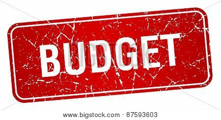 Budget Red Square Grunge Textured Isolated Stamp