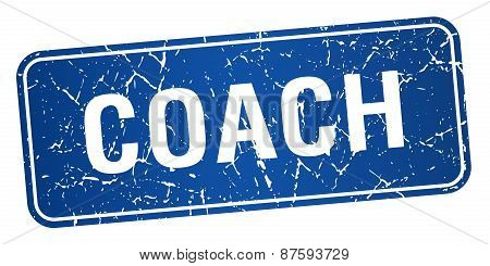 Coach Blue Square Grunge Textured Isolated Stamp