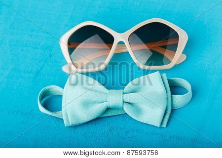 Blue Bow Tie And Sunglasses