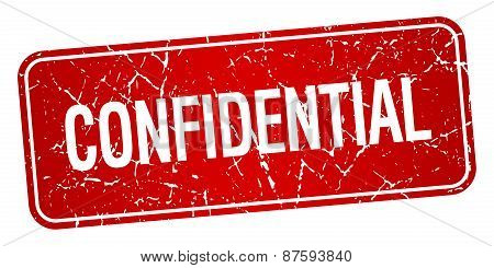 Confidential Red Square Grunge Textured Isolated Stamp