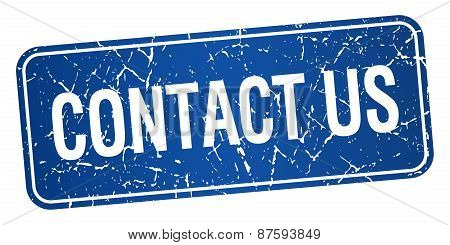 Contact Us Blue Square Grunge Textured Isolated Stamp
