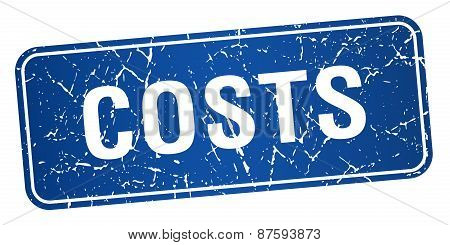 Costs Blue Square Grunge Textured Isolated Stamp
