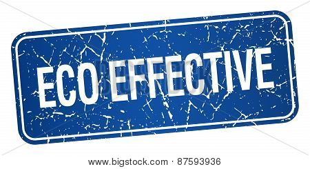 Eco Effective Blue Square Grunge Textured Isolated Stamp