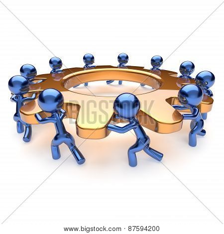 Teamwork Business Process Mans Start Turning Gold Gear Together