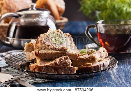 Slices Of Bread With Baked Pate