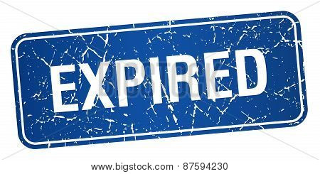 Expired Blue Square Grunge Textured Isolated Stamp