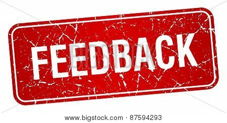 Feedback Red Square Grunge Textured Isolated Stamp