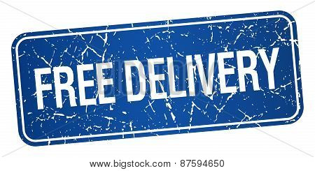 Free Delivery Blue Square Grunge Textured Isolated Stamp