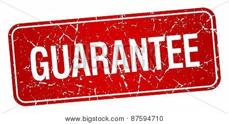 Guarantee Red Square Grunge Textured Isolated Stamp