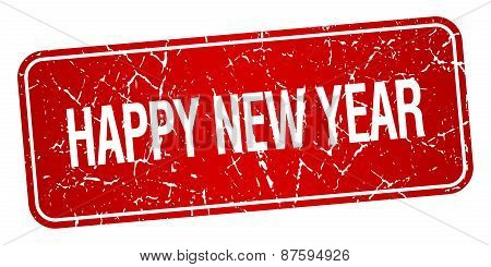 Happy New Year Red Square Grunge Textured Isolated Stamp