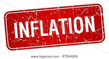 Inflation Red Square Grunge Textured Isolated Stamp