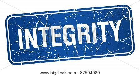 Integrity Blue Square Grunge Textured Isolated Stamp