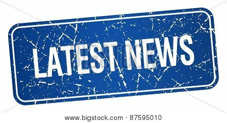 Latest News Blue Square Grunge Textured Isolated Stamp