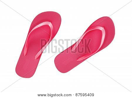 Red Beach Shoes Isolated On White