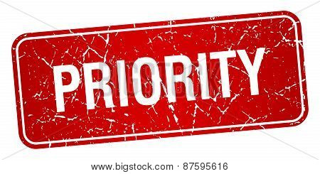 Priority Red Square Grunge Textured Isolated Stamp