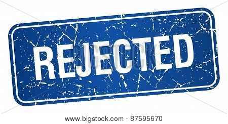 Rejected Blue Square Grunge Textured Isolated Stamp
