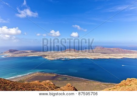 Island Of La Graciosa A Taken From The Mirador Del
