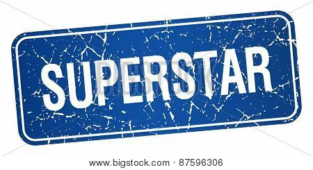 Superstar Blue Square Grunge Textured Isolated Stamp