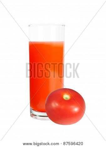 Tomato Juice In Glass And Fresh Tomato Isolated On White