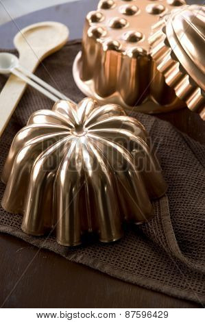 Close Up Vintage Copper Molds