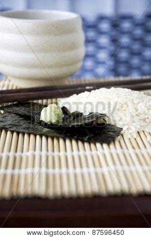 Close Up Wasabi On Seaweed