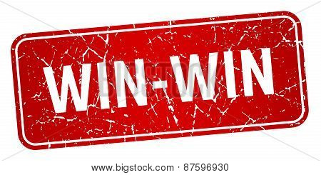 Win-win Red Square Grunge Textured Isolated Stamp