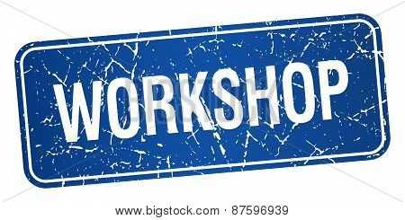 Workshop Blue Square Grunge Textured Isolated Stamp