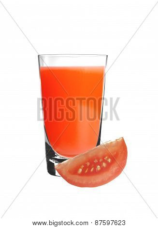 Bloody Mary Cocktail In Glass And Tomato Slice Isolated On White
