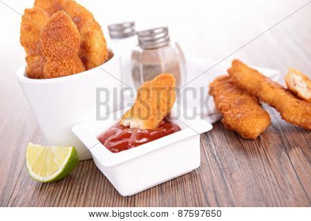 fried chicken and ketchup