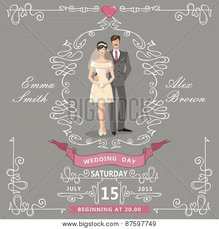 Wedding invitation.Cartoon bride,groom,Swirl elements,ribbons
