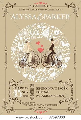 Wedding invitation.Wreath,Bride,groom,retro bicycle,icons