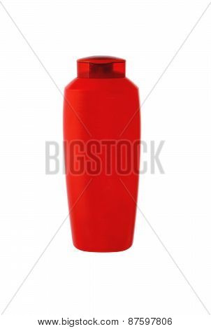 Red Shampoo Bottle Isolated On White