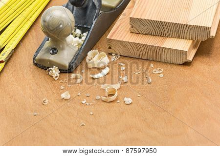 Wood Working Tools And Wood Shavings