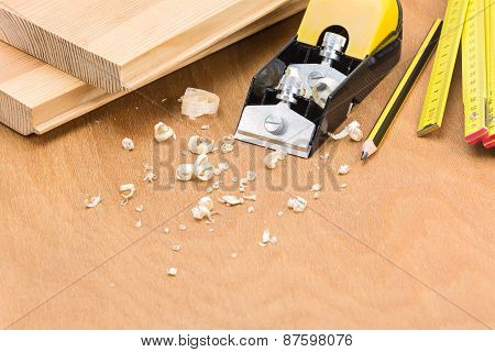 Woodwork Tools On Wood Panel Background