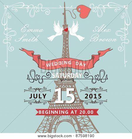 Wedding invitation.Eiffel tower,pigeons,swirling borders