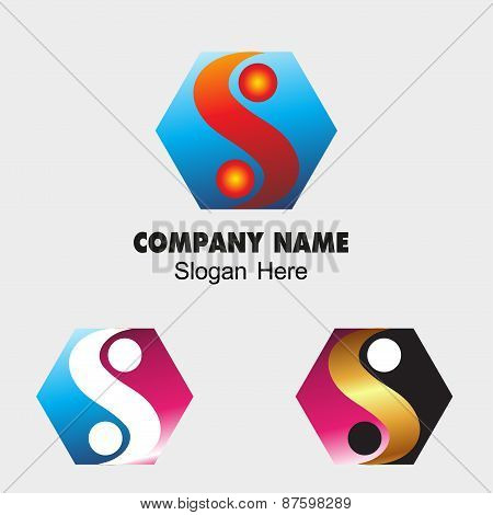 Ying yang sign icon with Hexagon symbol Harmony and balance symbol. Business abstract Hexagon S lett